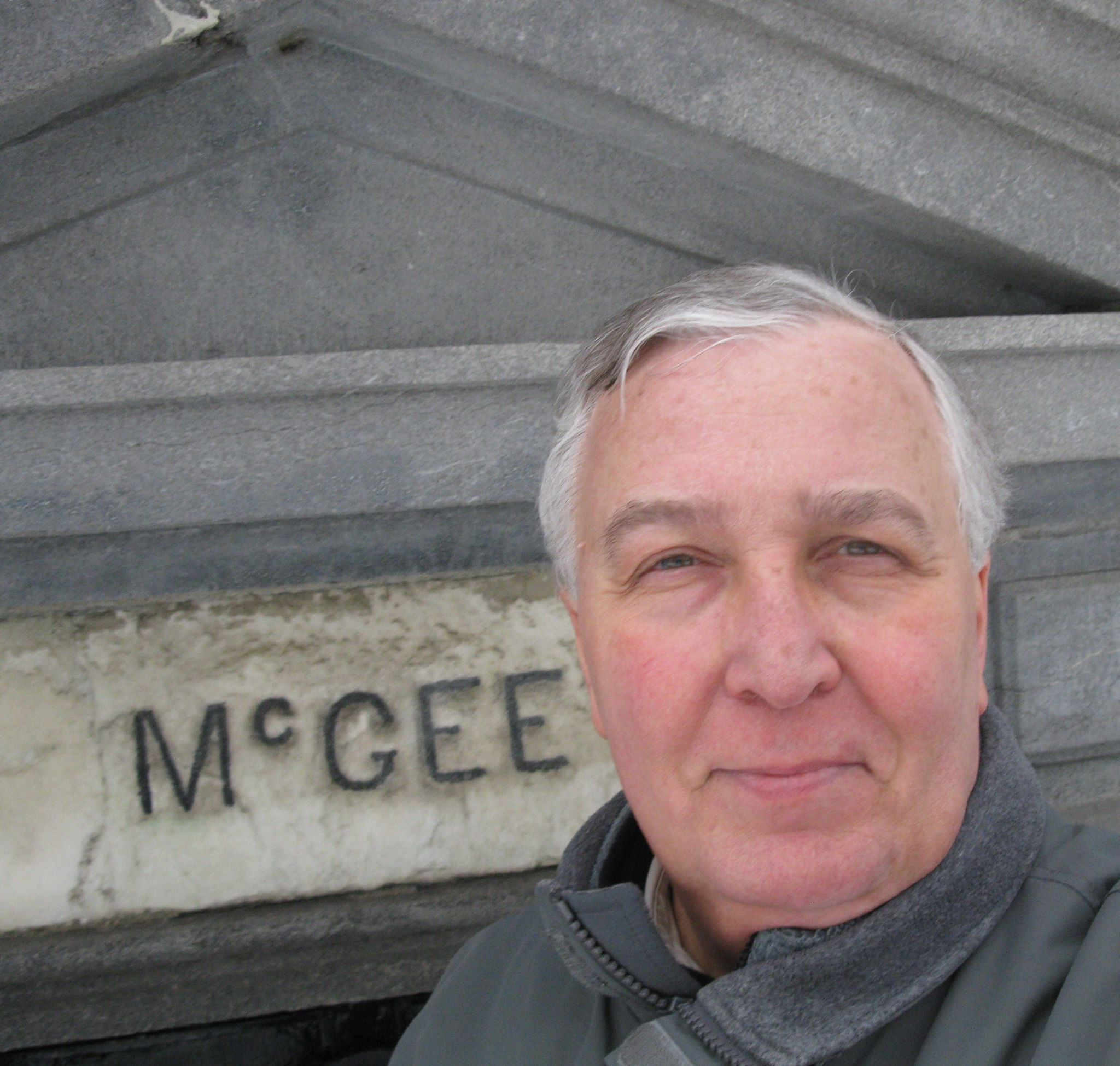 Stephen Morrissey at the tomb of Darcy McGee